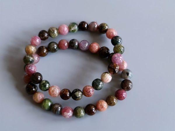 perles rondes tourmaline multicolore 8 mm